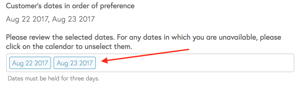 Click in dates field to bring up calendar.