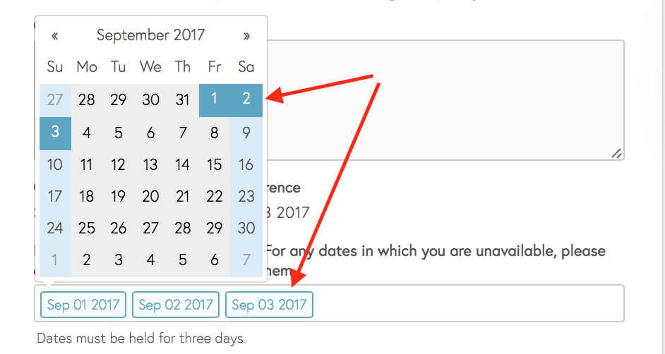 Select and unselect dates here.