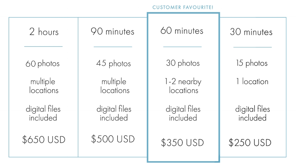 vacation photographer pricing
