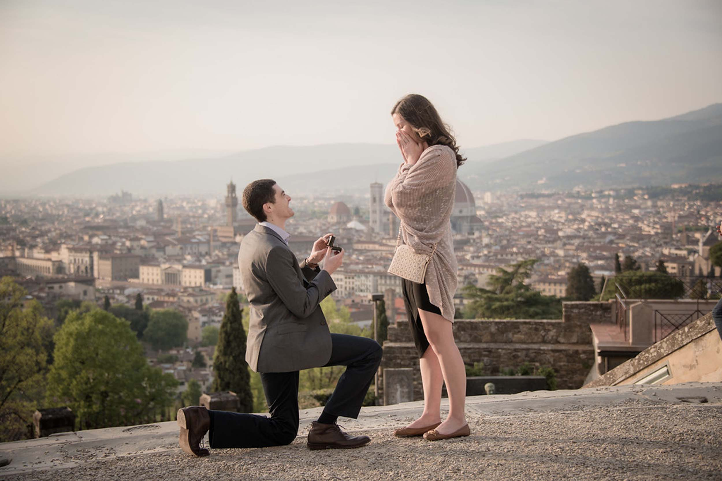 Surprise Flytographer proposal at the Piazzale Michelangelo in Florence, Italy
