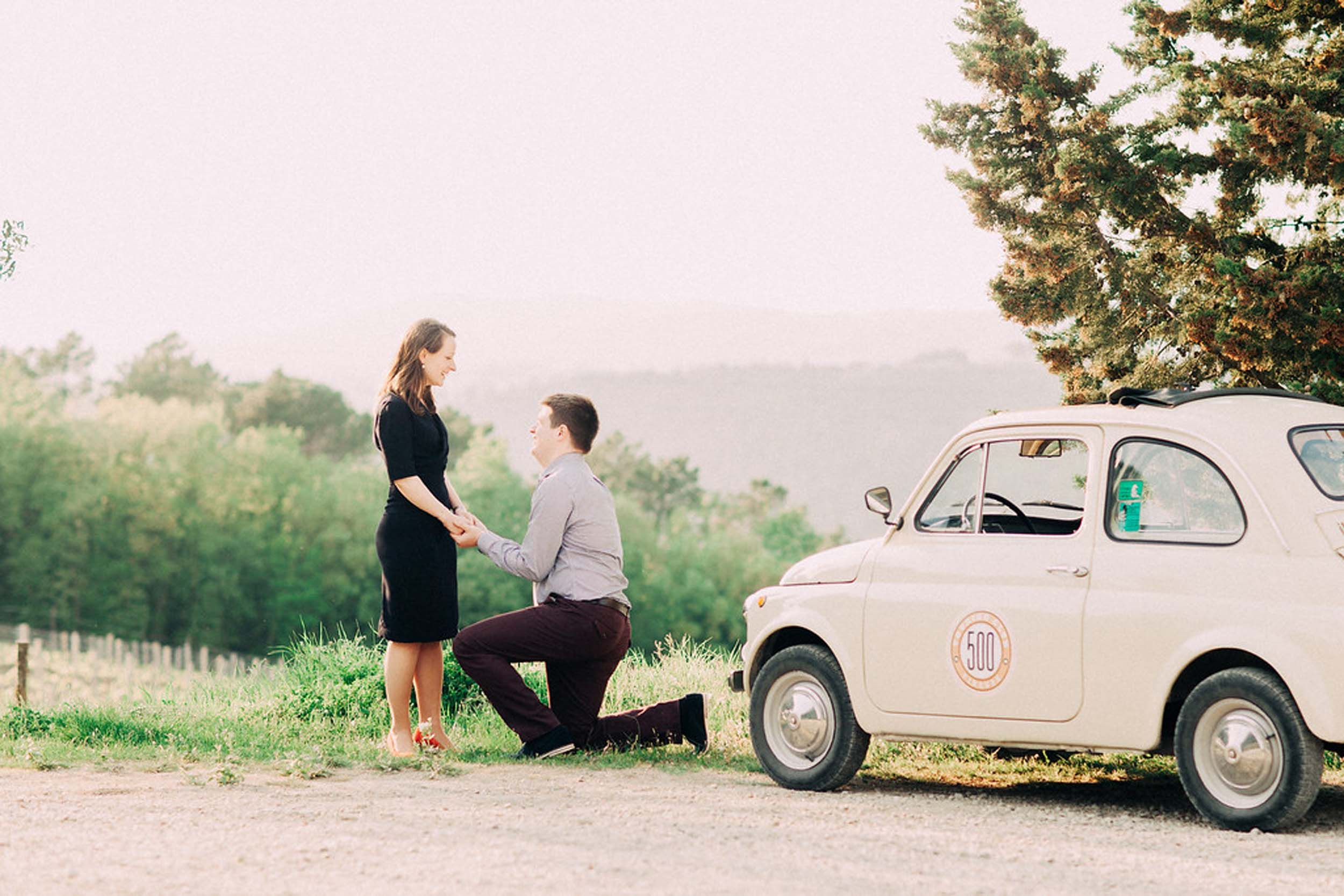 Surprise Flytographer proposal at a winery in Florence, Italy