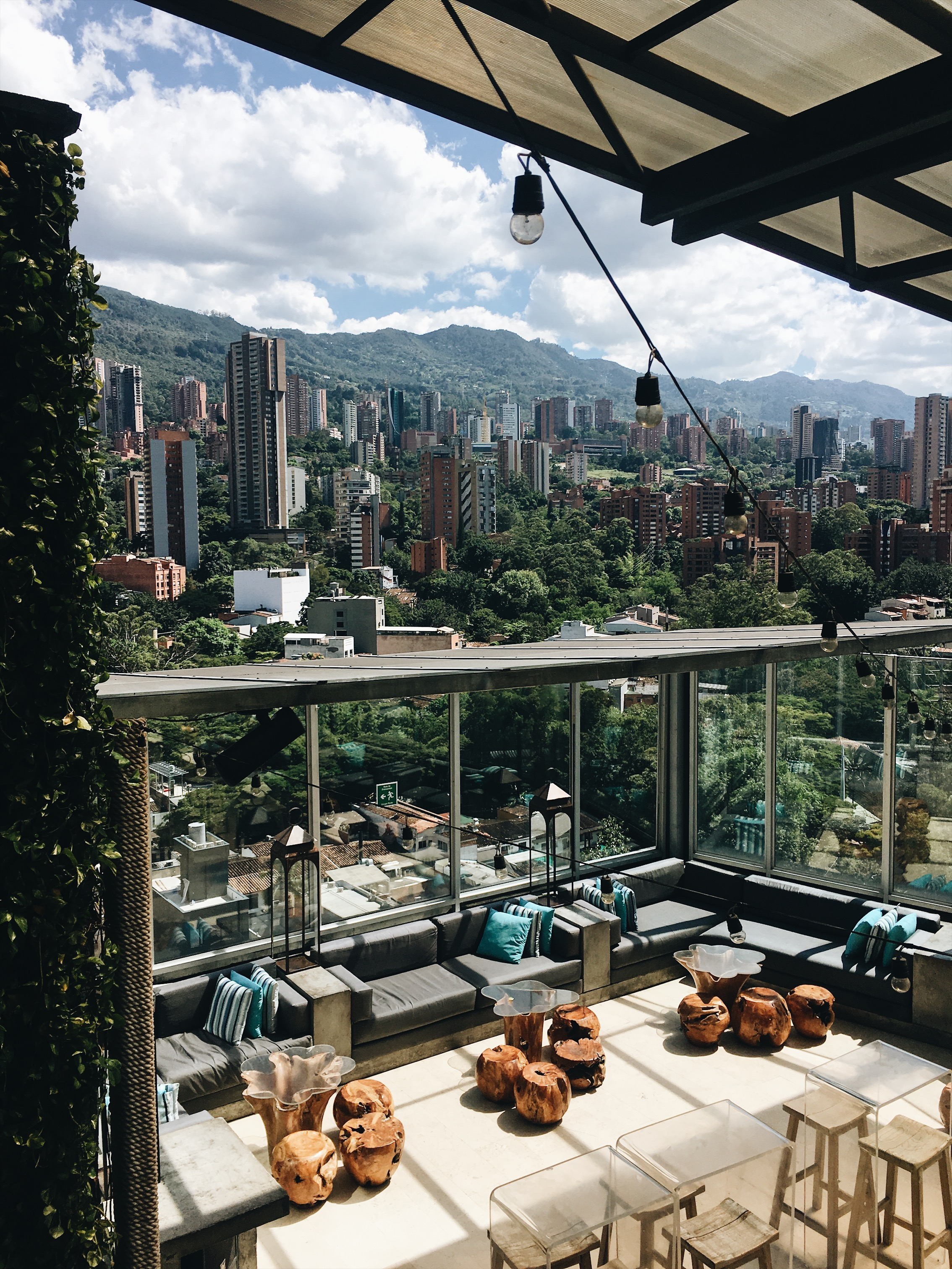 Incredible views of Poblado from The Envy Rooftop at The Charlee Hotel .