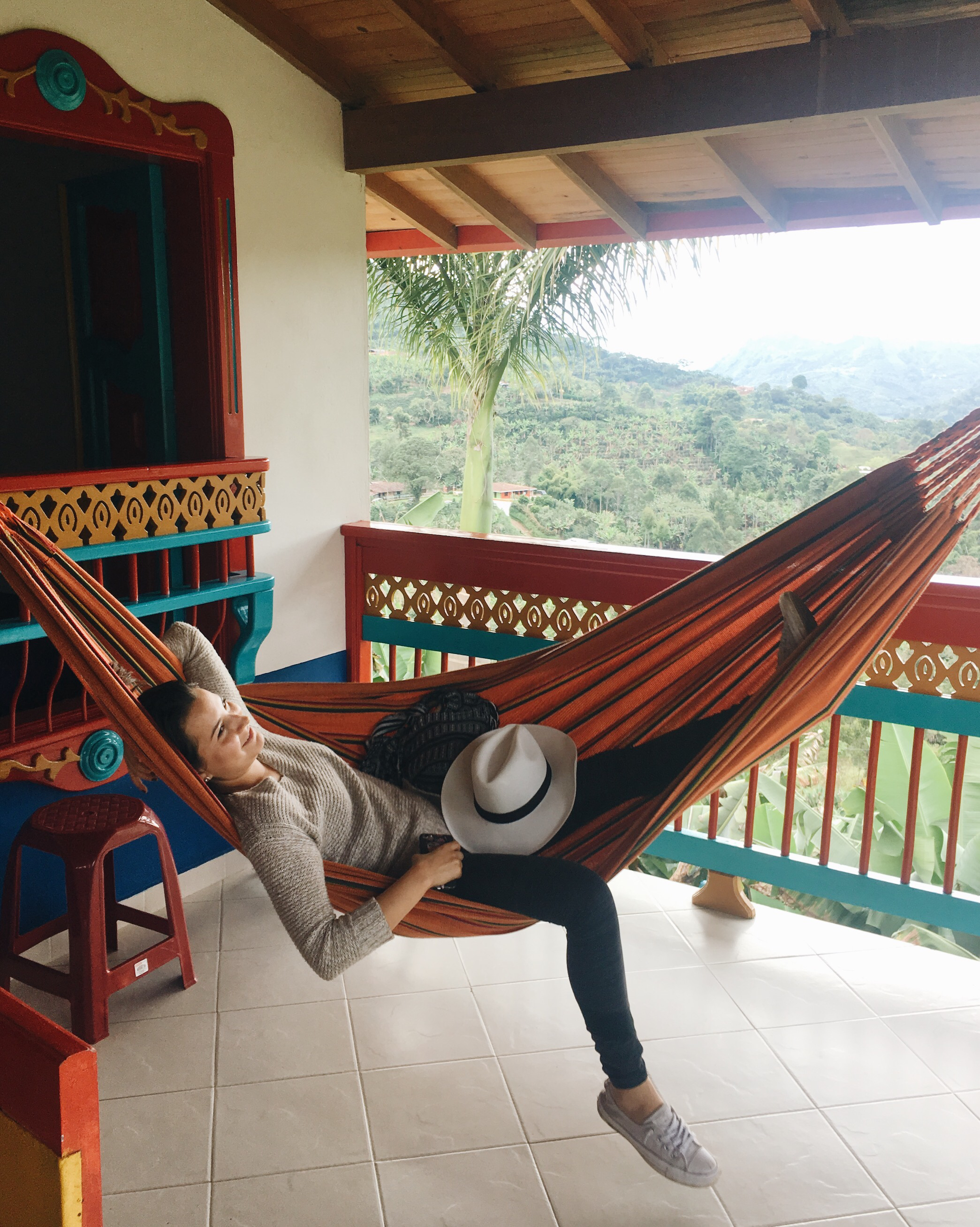 My lovely Colombian amiga Laura relaxing in a hammock at the finca in Jardín.