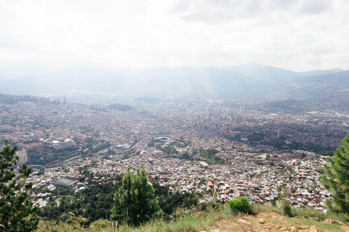 City view of Medellín from a mountainside trail.