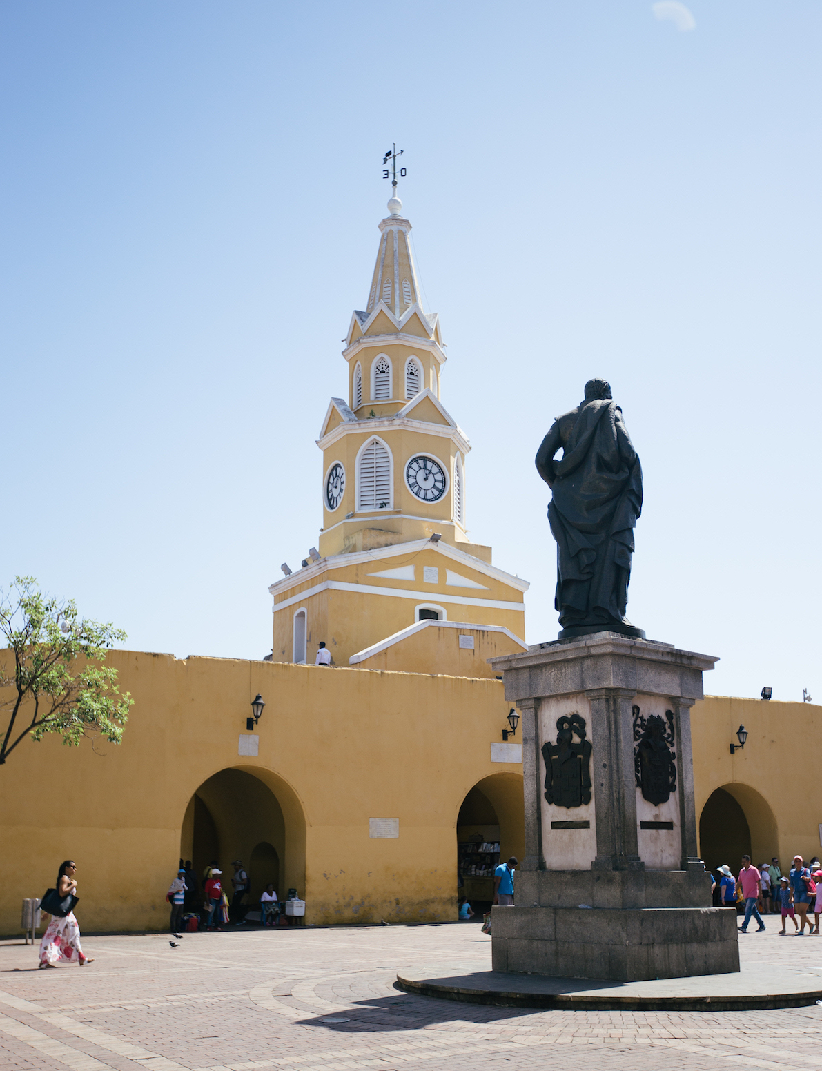 The Clock Tower sits at the main entrance of the wall surrounding the historical core of Cartagena.