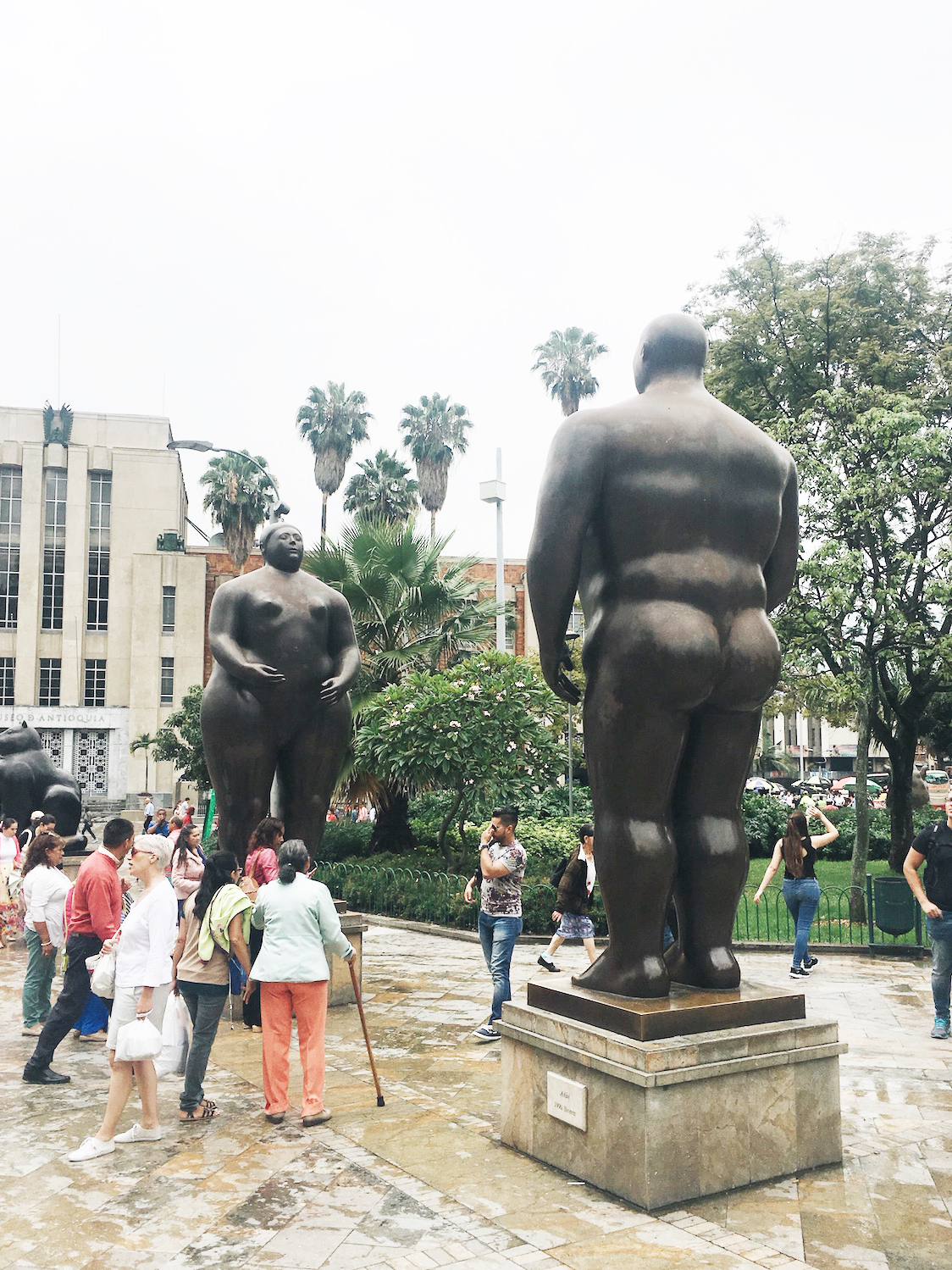 Fernando Botero is one of Colombia's most famous artists, known for his roundly-figured sculptures and paintings. He donated over 100 of pieces of work to his hometown of Medellín, on display in this public square and in the Museum of Antioquia (seen in background on left).