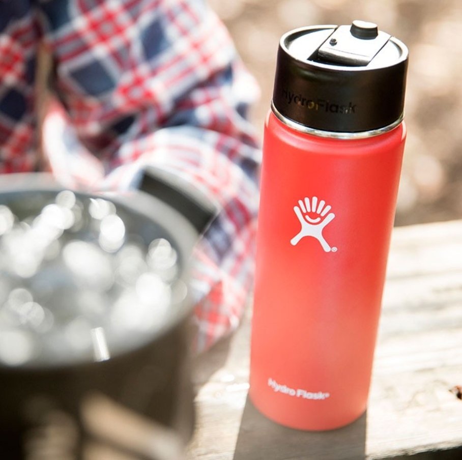 Hydro Flask - 16 oz Coffee Flask is just right. The same size as a large at most coffee shops, this flask delivers your daily caffeine fix without the disposable cup.   https://www.hydroflask.com