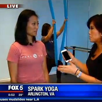 "Annie Yu, ""Aerial yoga with the crew at Spark Yoga,"" FOX 5, 12/3/14"