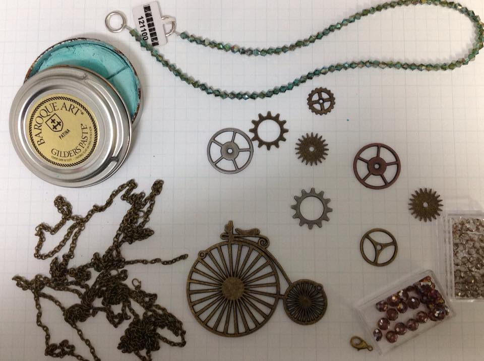Materials: Old Chain, Bike Pendant, Gears, Gliders Paste, Crystals