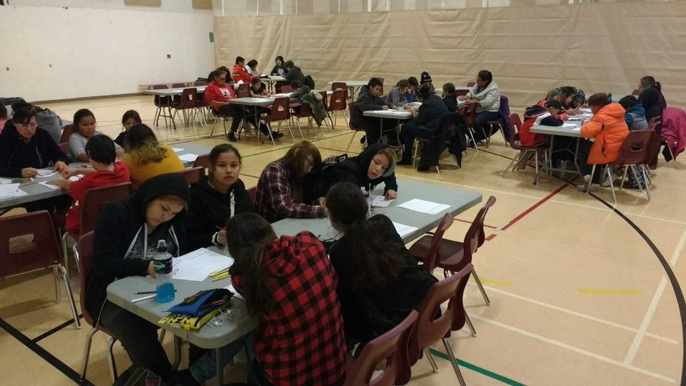 Students at Saddle Lake First Nation, Alberta, participating in a design workshop for  Minosis Gathers Hope.