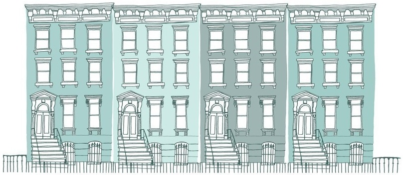 blue brownstones.