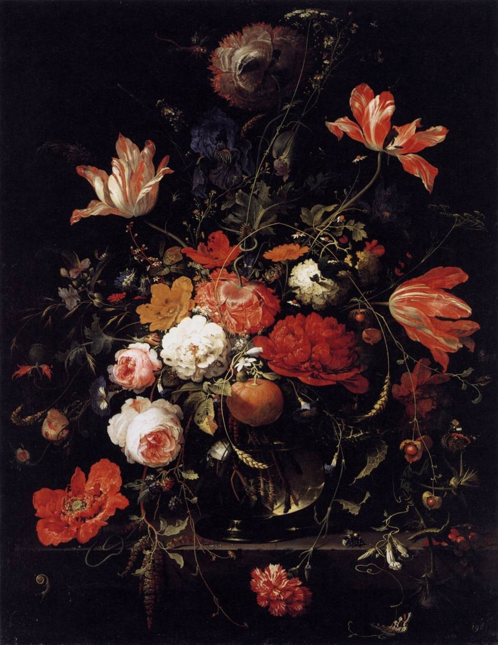 a glass of flowers & an orange twig, by abraham mignon (1660s)