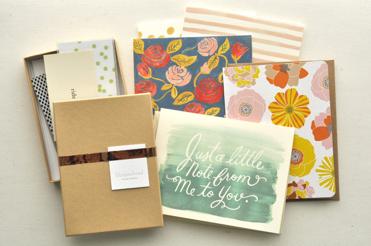 "i treated myself to a spread of pretty paper by bluepoolroad, kate's papergoods, carolyn suzuki, & rifle paper co. … the card at front should perhaps be revised to read ""just a little note from me to me."""