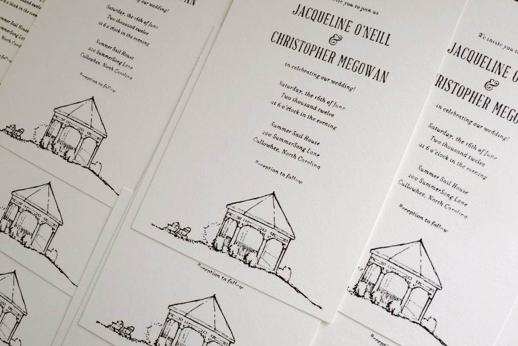 invitations for the mint-juleps-&-moonshine wedding of chris & jacquie.   …   summer sail house & gazebo illustrations by the groom.