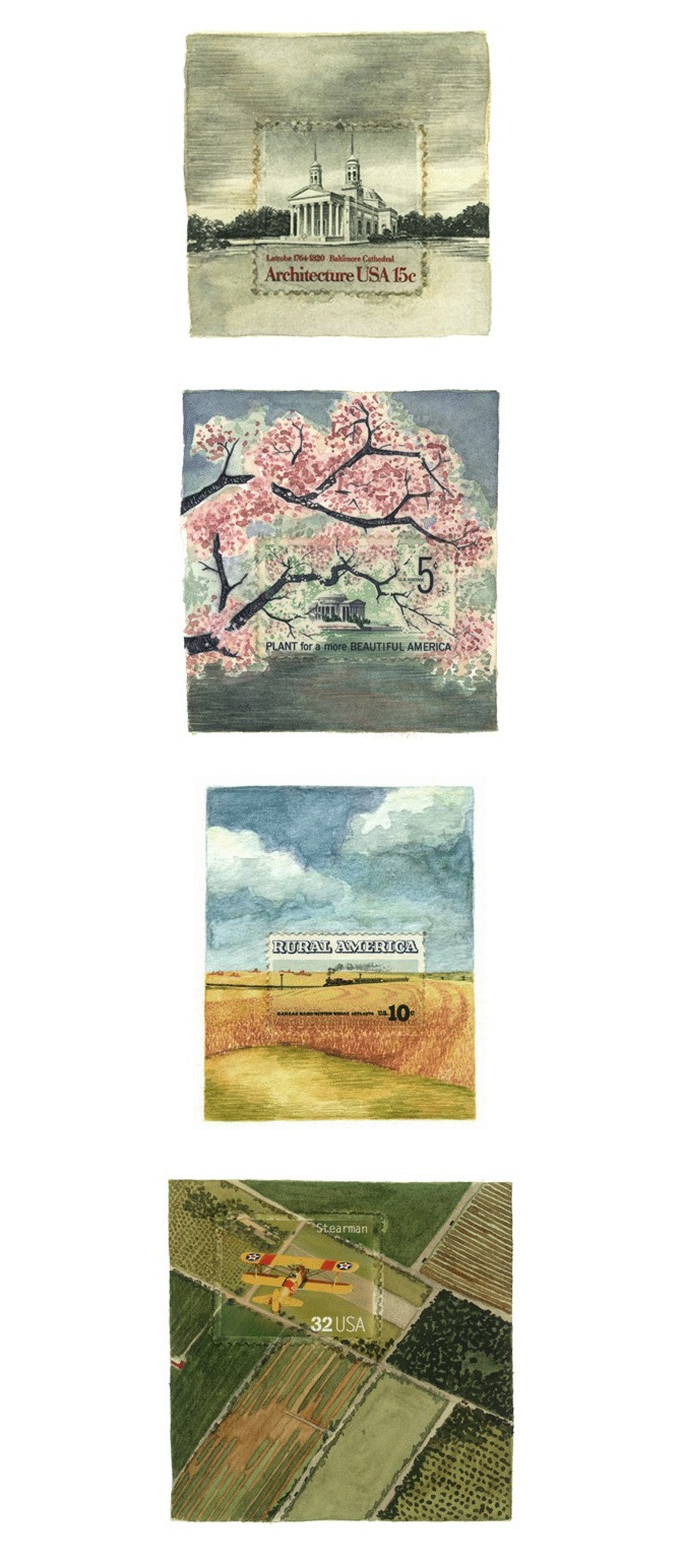 this is one of most beautiful & witty projects i've ever come across: with watercolor & gouache, molly rausch presents her painted takes on the contexts of postage stamp scenes.  such a thoughtful & curious venture!  it was quite difficult to pick which to post here, as i'm in awe of every one. …  via uspsstamps.