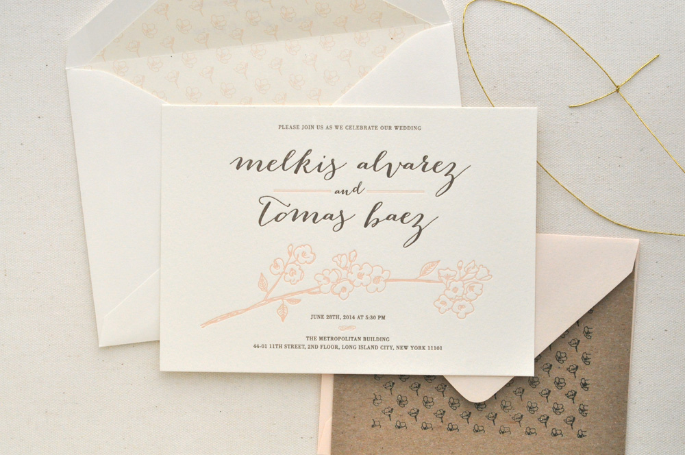 Cherry Blossom Wedding Invitation / Paper & Type