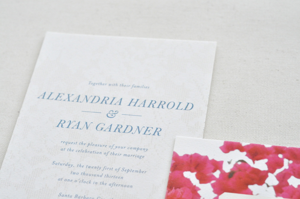Bougainvillea & Lace Wedding Invitations / Paper & Type