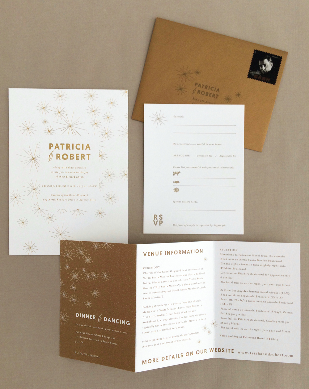 Sparkling Gold Invitation / Paper & Type