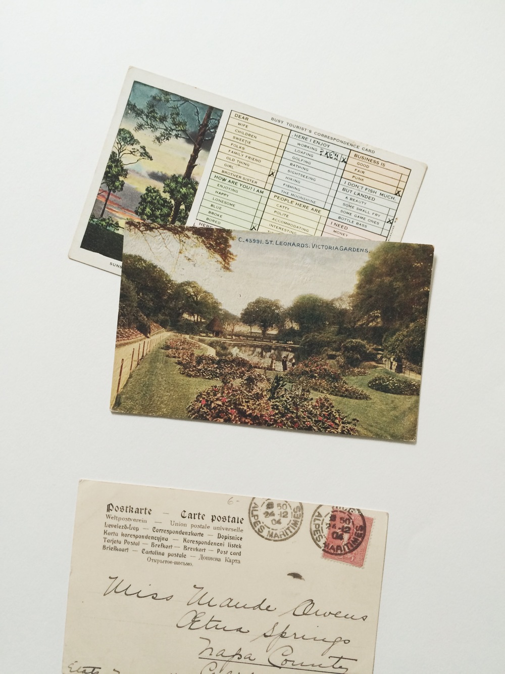 vintage postcards / paper & type