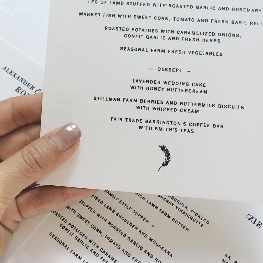 Menu / Paper & Type