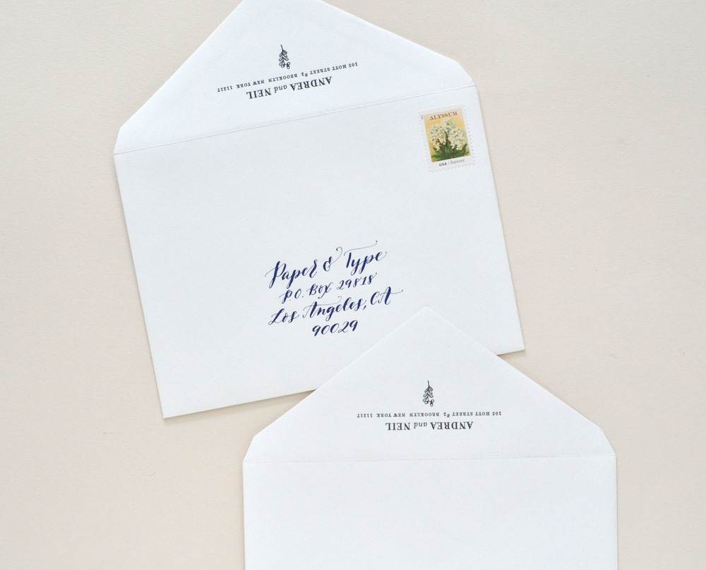 Letterpress printed return address plus calligraphy by Miss Multee