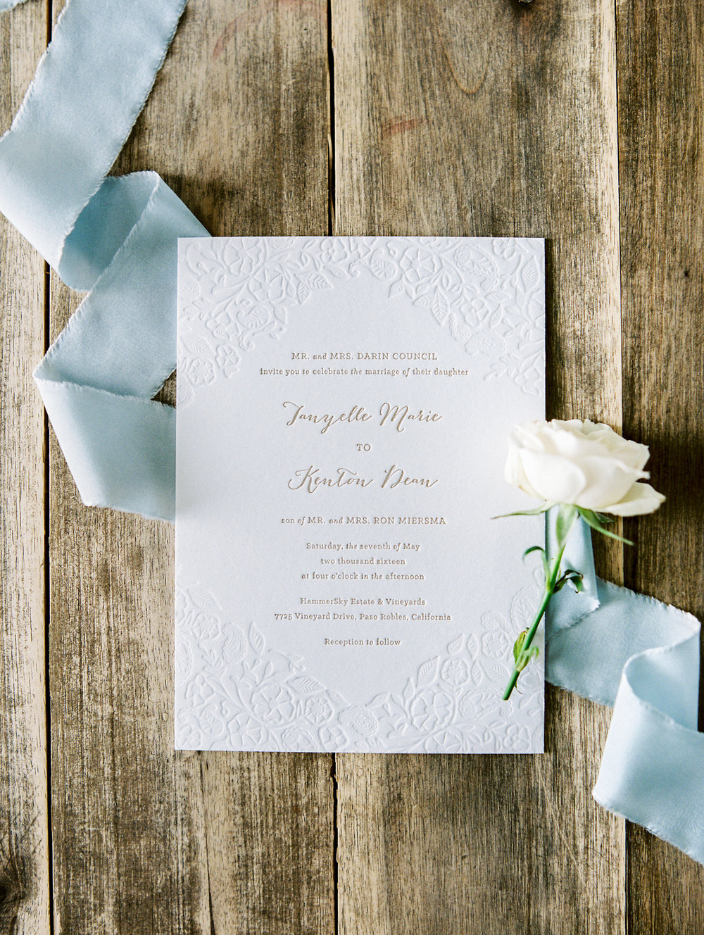 Invitation by Paper & Type, photographed by Rachel Solomon.