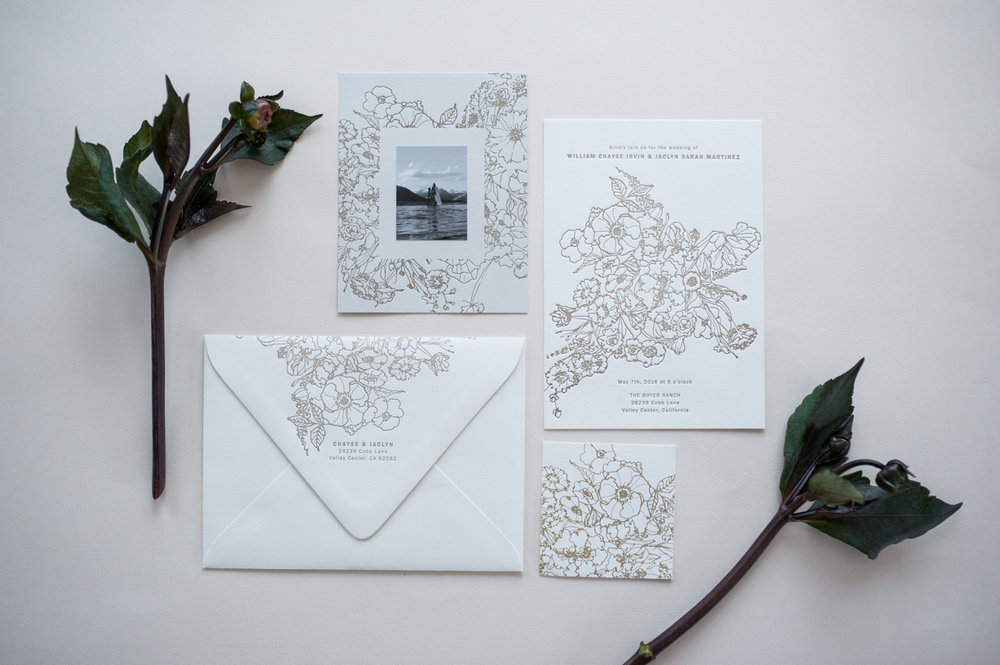 Allover Floral Invitation in Cream by Paper & Type, styling and photography by Emilie Anne Szabo