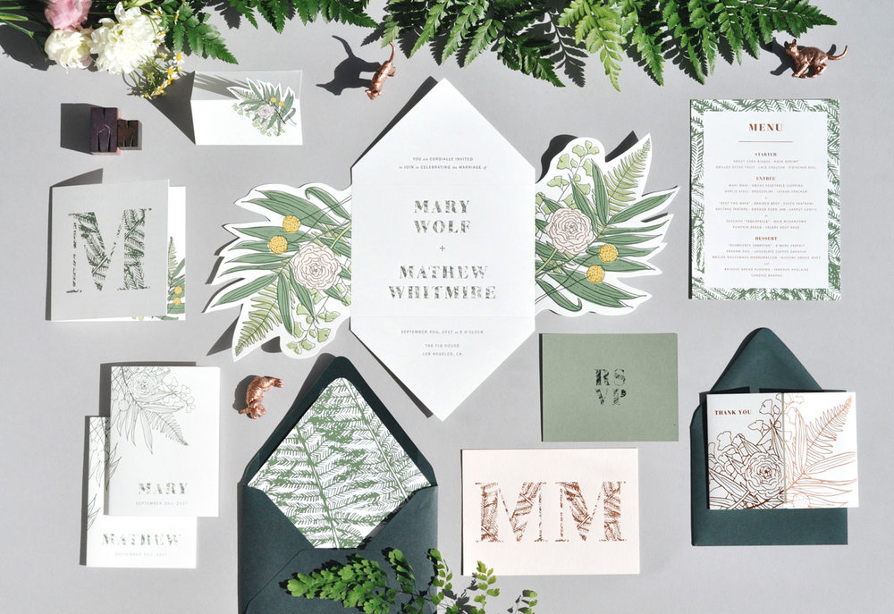 Ferns & Flowers Invitation Set / Paper & Type
