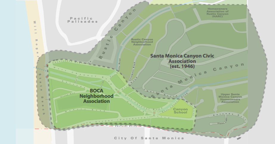 Boundaries of BOCA within Santa Monica Canyon
