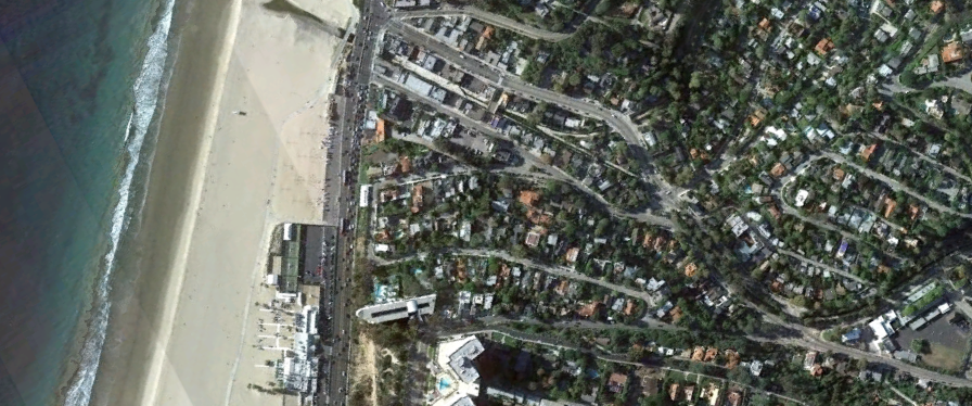 Aerial View of the BOCA neighborhood at the mouth of Santa Monica Canyon