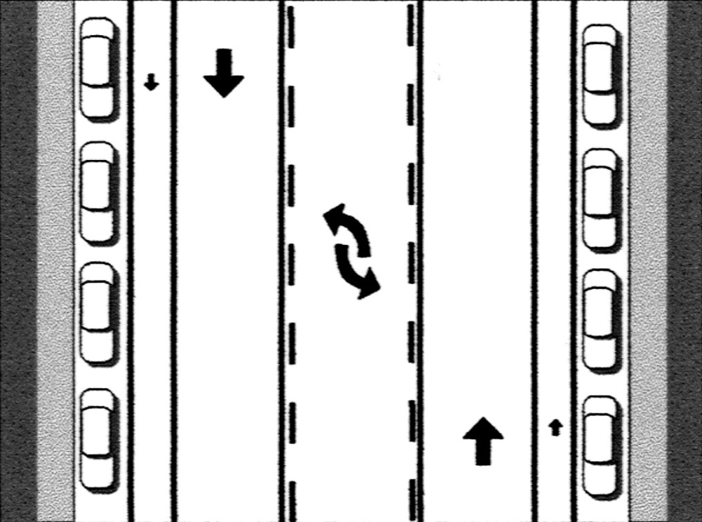 Traffic calming: two lanes of travel with center left-turn lane