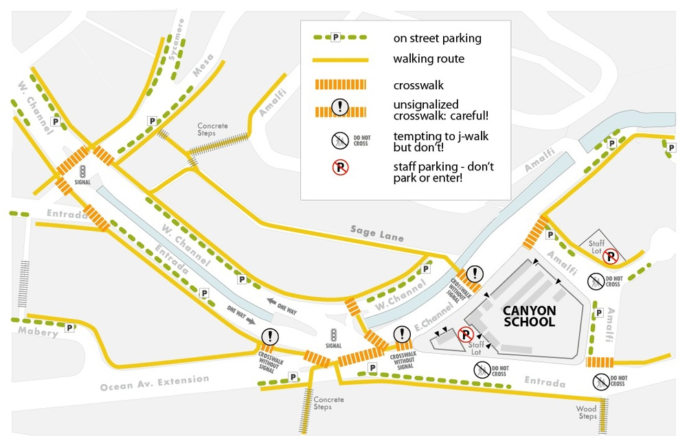 Canyon School's parking / walking map