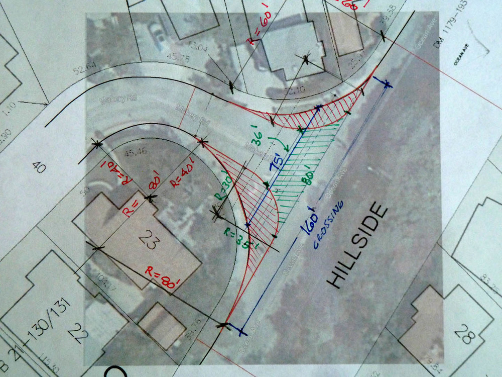Possible widening of sidewalks to make crossing safer, to reduce speeds of turning vehicles, and to reduce cut-through traffic
