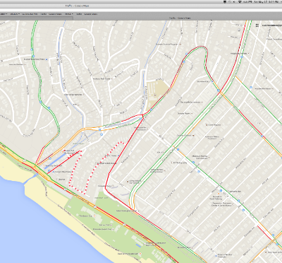 Example of a screenshot from Google Maps showing traffic congestion (note: Ocean Avenue Extension, Mabery, and Ocean Way have been added manually, and do not appear in Google Maps)