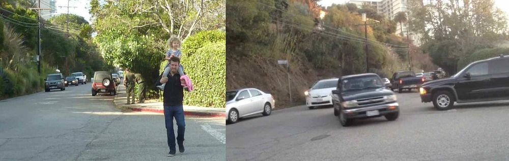 A Canyon School dad and daughter cross the wide and dangerous intersection at Mabery - traffic backups caused by PCH construction have made the intersection more dangerous than ever.