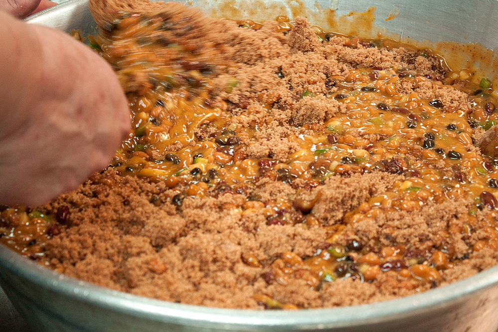 Mixing in the brown sugar, after our Bullpen BBQ sauce and bourbon were added.