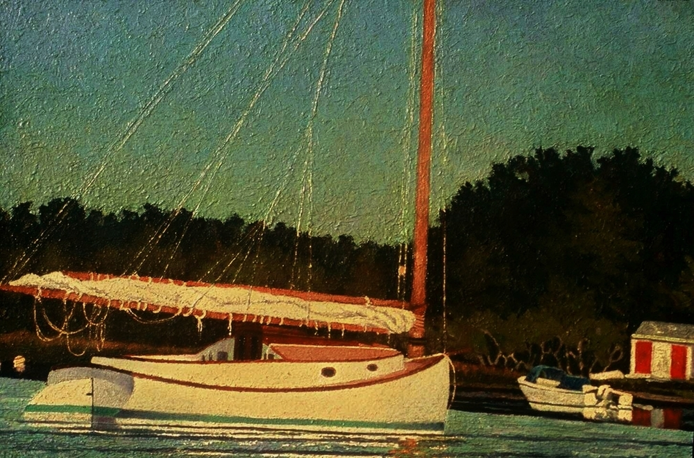 Moored Cat Boat