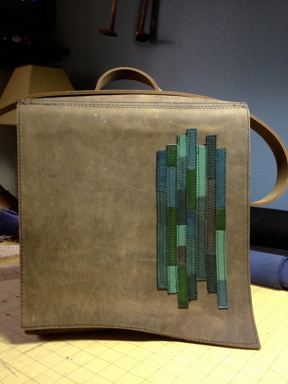 Brown Messenger Bag with Bio Cell Design
