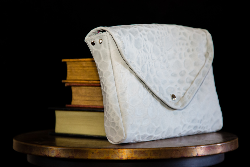 White Leather Envelope Clutch