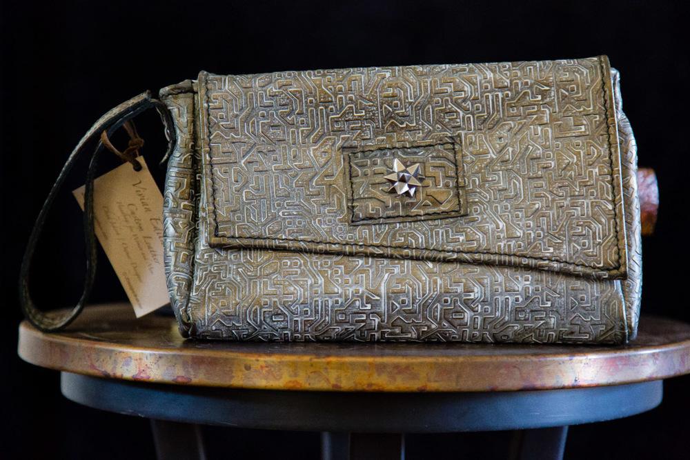 Textured Leather Clutch-Handsewn