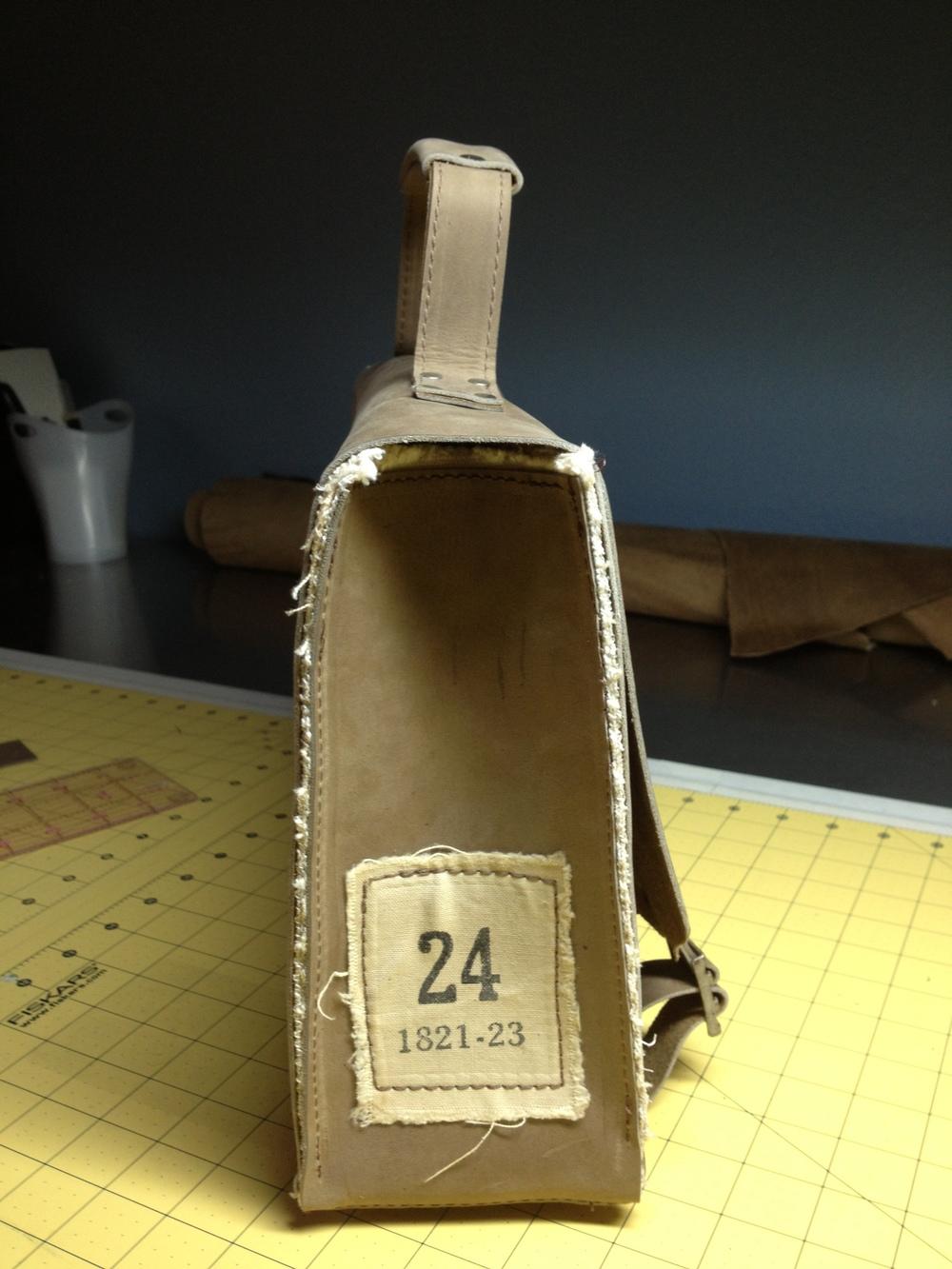 Vintage Briefcase/Messenger Bag-side view