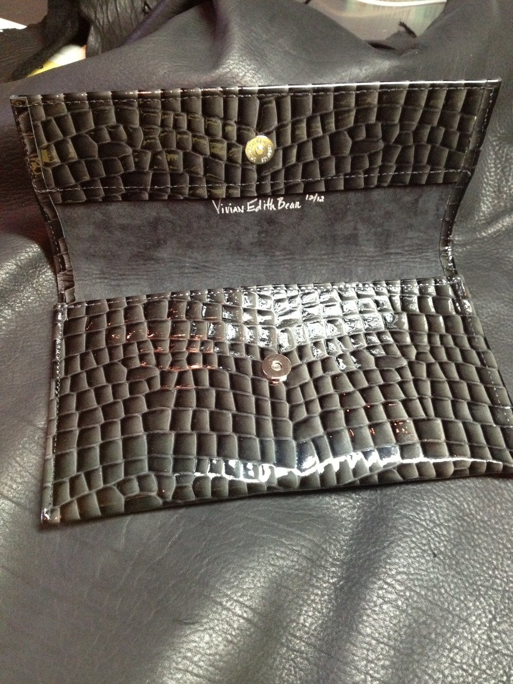 Patent Leather Clutch-opened