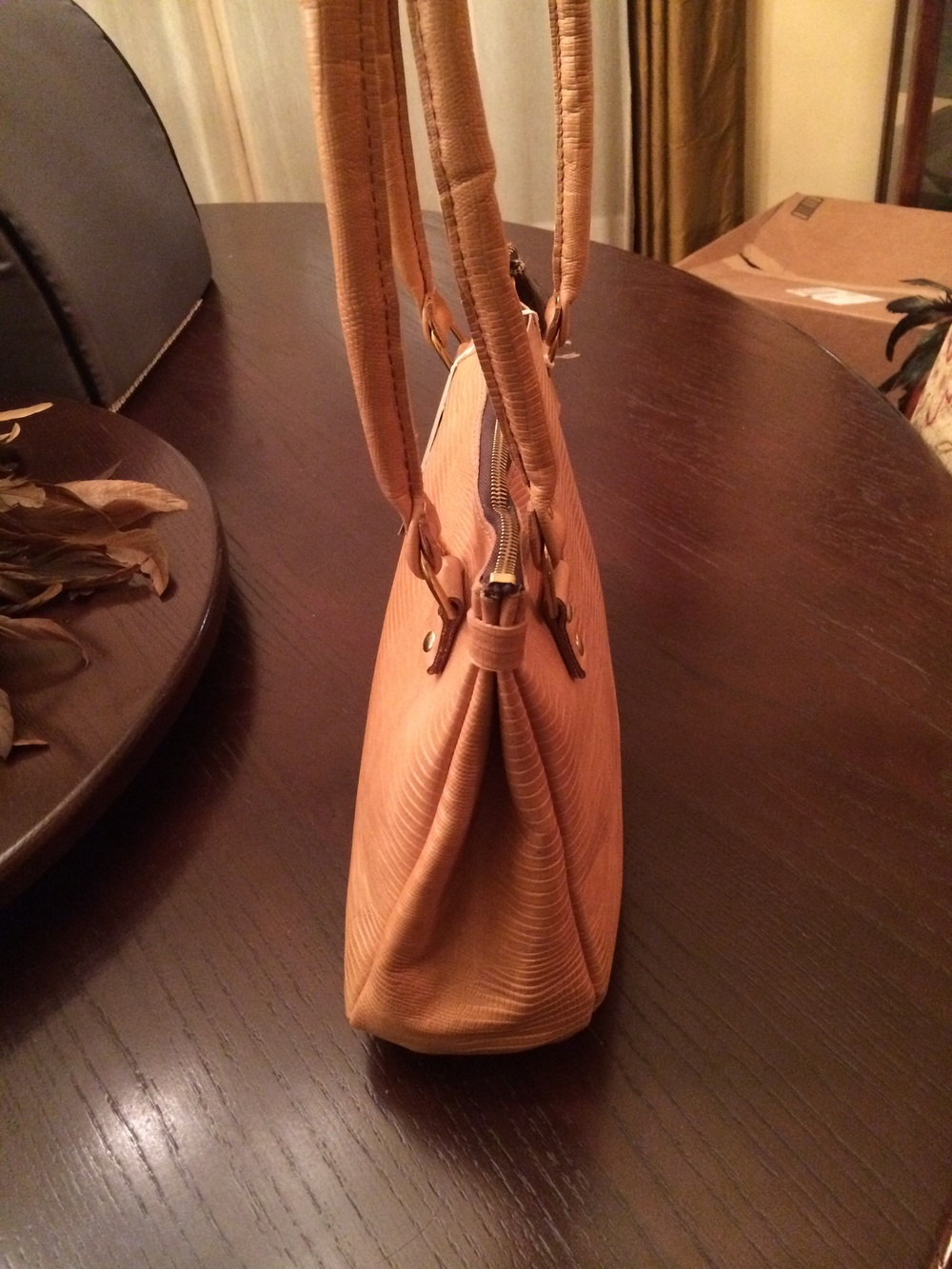 Textured Leather Handbag-side view