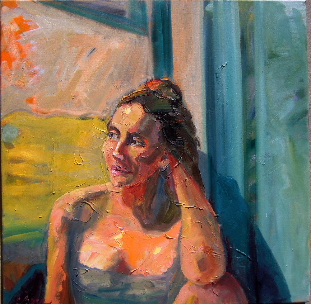 Pensive - 24 x 24 inches Oil on canvas