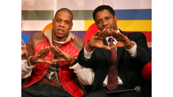 Jay Z and Denzel Washington throwing up the Roc.