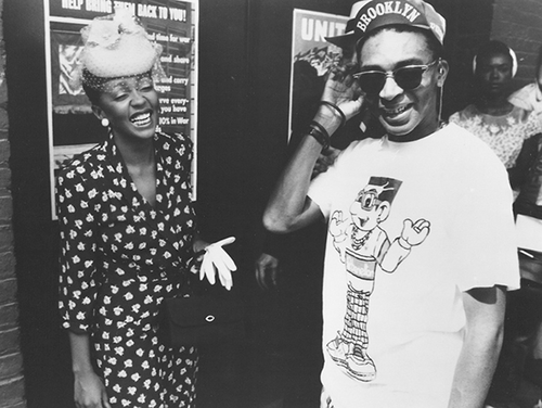 """Anita Baker and Spike Lee on the set of her """"No One in the World"""" video."""