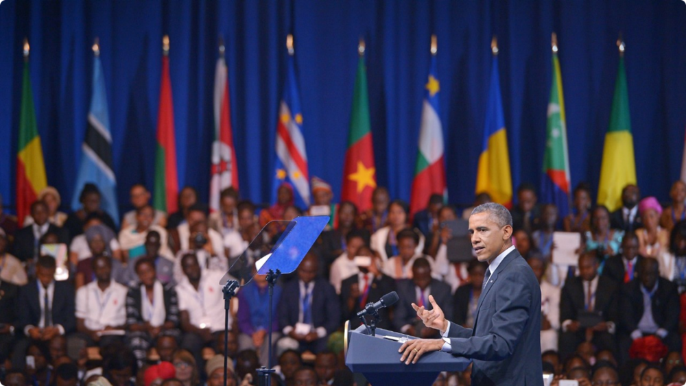 President Obama greeting Young Africans Leadership Initiative fellows during a recent town hall in Washington, D.C.