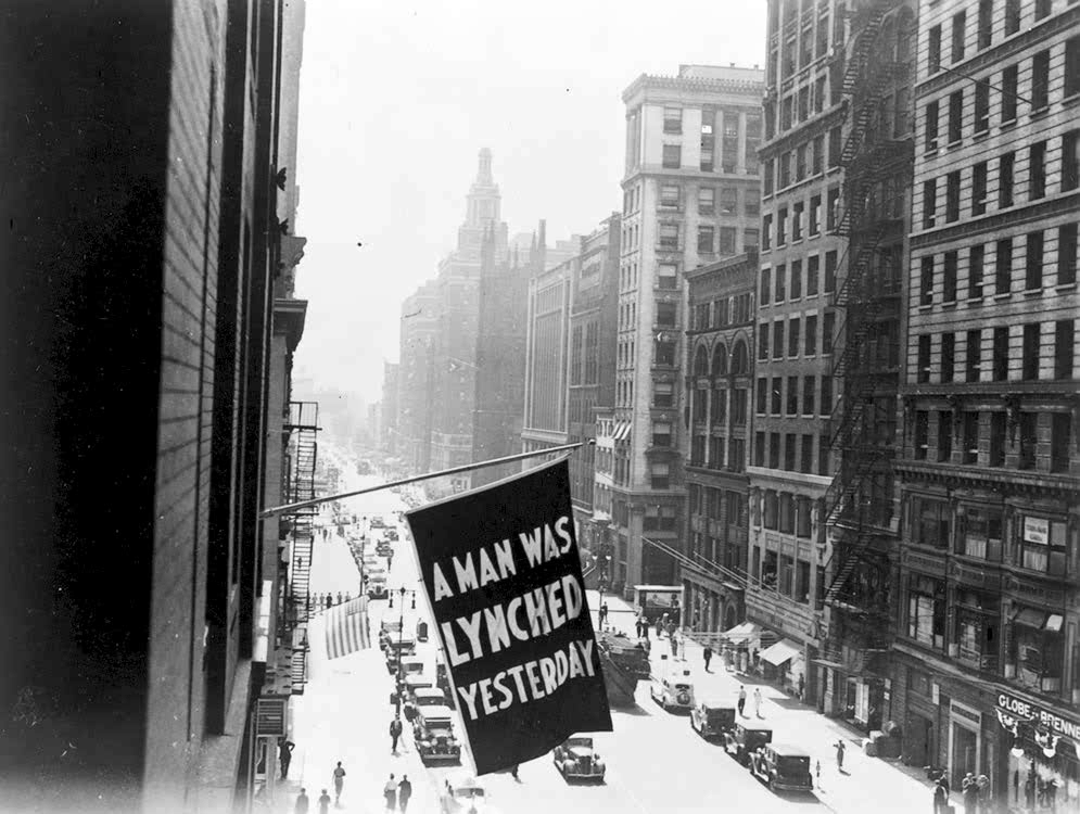 Lynchings of blacks were such common occurrences in recent American history that the National Organization for the Advancement of Colored People would hang a banner from its offices in New York City to alert people of recent incidents.