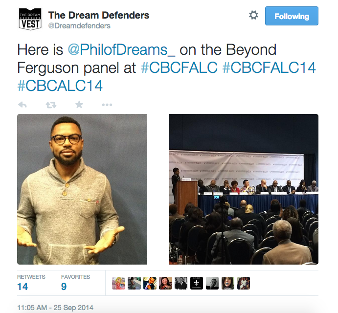 A tweet sent from the Dream Defenders' account during the CBCF Conference explaining that their executive director, Phillip Agnew, had been kicked off a panel.