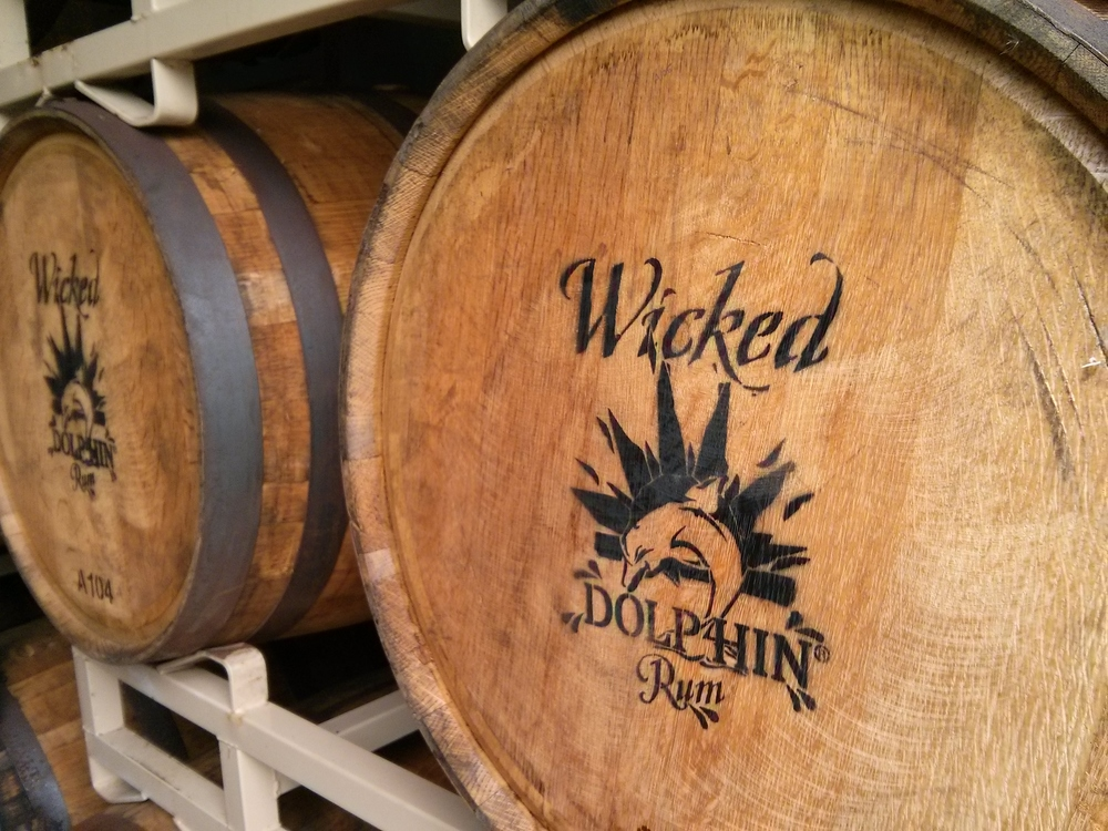 Barrels of rum . . . and barrels of fun, at the Wicked Dolphin Distillery.